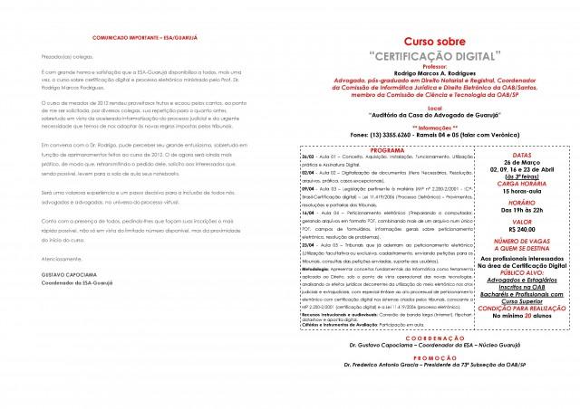 Cartaz de divulgação do Curso de Processo Eletrônico da ESA/Guarujá
